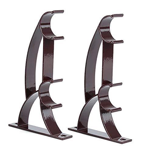 RSLG Double Rod Holder Curtain Pole Bracket Heavy Duty Metal Aluminum Alloy 2Pcs Support Frame (Brown)