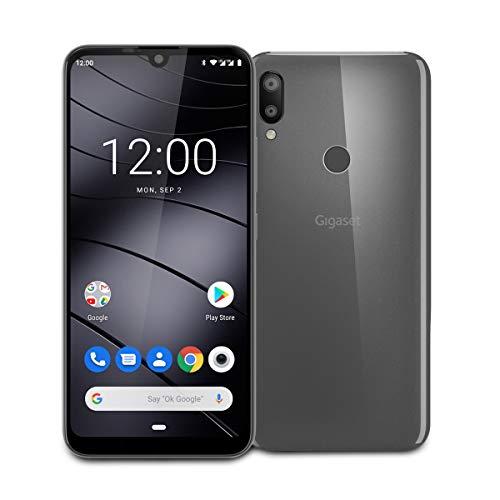"""Gigaset GS190 Smartphone ohne Vertrag - 6,1"""" V-Notch HD+ Display - Handy mit Gesichtserkennung, Dual-SIM - 32GB Speicher, 3GB RAM - 4000 mAh Akku, mit Android 9.0 Pie, Titanium Grey"""