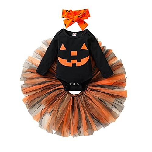 Jeqckloves My 1st Halloween - Juego de 3 piezas de ropa para recién nacido, de manga larga, tutú, falda de 0 a 18 meses, Negro, 1 mes