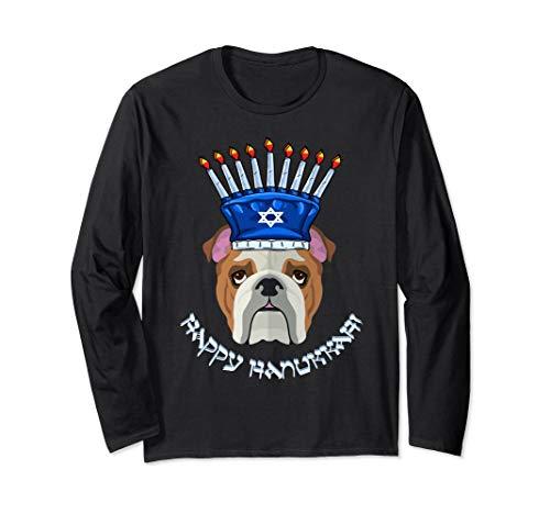 Bulldog Menorah Hat Hanukkah Chanukah Long Sleeve