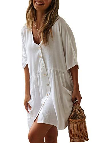 PANAX Damen Baumwolle Strandkleid Einreiher Strandponcho StyleA Weiß