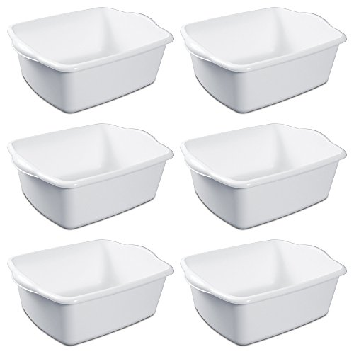 Sterilite White Plastic Rectangular Dish Pan 12 Quart Pack of Six