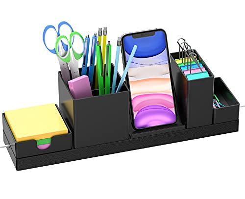 Desk Organizer Pencil Holder, MXBOLD Office Accessories Storage with Adjustable Pencil Cup, Pen Holder, Phone Stand, Sticky Note Tray, School Supplies Caddy, Desk Organization for Home, Office