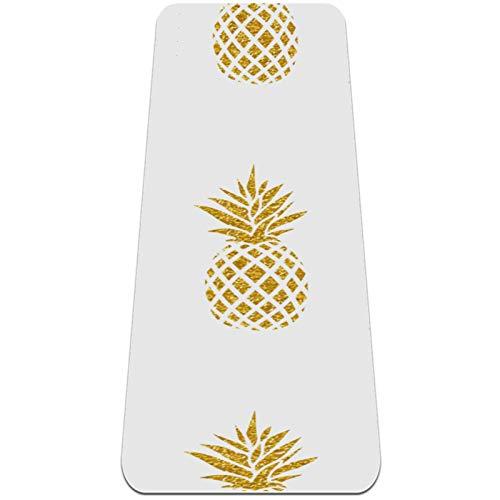 AIBILI Esterilla de yoga plegable de 6 mm de grosor antideslizante para viajes y yoga suave y ligera, ideal para yoga, pilates y fitness, patrón de piña dorada