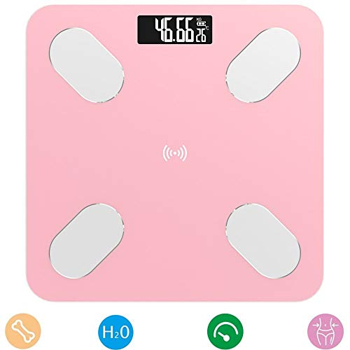 Scale, Bluetooth Body Fat Scale, Tempered Glass LCD Display, Best Fitness Weight Loss Scale Health Monitor, 396 Pounds / 180Kg Max,Pink