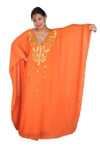 Egypt Bazar Abaya Festkleid aus Chiffon, Einheitsgröße: M bis XXXL (Orange/Gold)