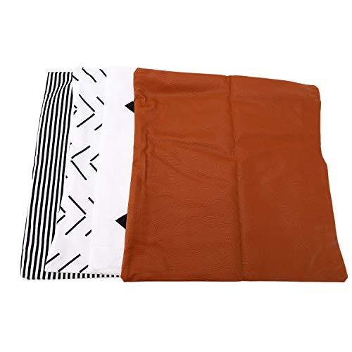 MLXG - Funda de almohada decorativa, solo para sofá, cama o sofá, conjunto de 4 conjuntos Amaro, piel sintética, geométrica, rayas cortas, diseño moderno