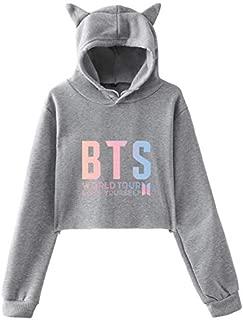 BTS world tour love yourself hoodie Cat ear hoodie bare midriff hoodie grey-L