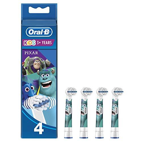 Oral-B Kids Brossettes De Rechange Disney Pixar x4, Enfants de 3 ans et plus, Recharge Originale Pour Brosse À Dents Électrique