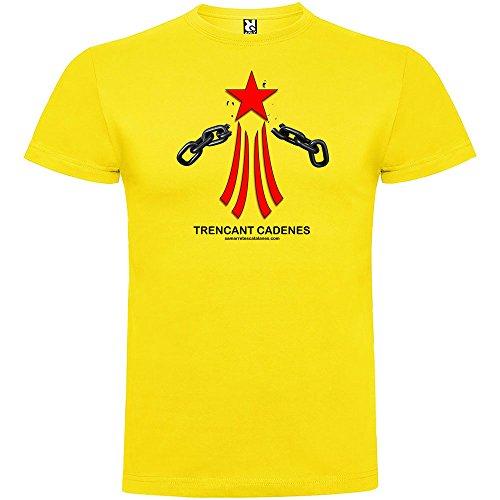 Camiseta Catalunya Via Catalana Trencant Cadenes Manga Corta Hombre Amarillo L