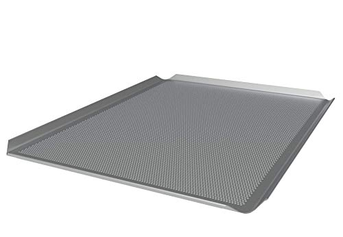 LEHRMANN Bandeja perforada 46 x 35 cm Placa de pizza rectangular Bandeja para horno Siemens Bosch Neff