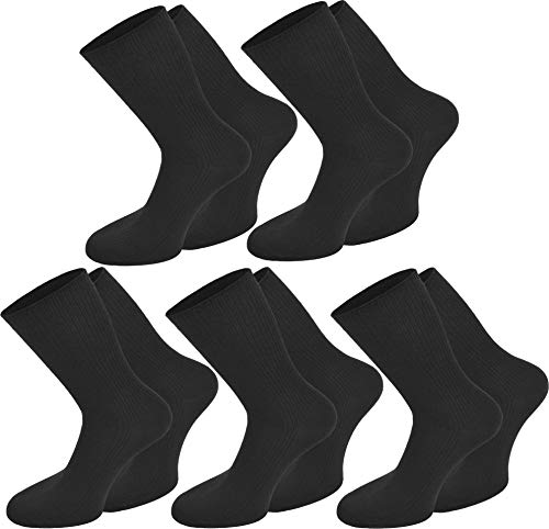 normani 10 Paar Herren Business Socken 100% Baumwolle Arztsocken Apothekersocken Weiss Kochfest - Top Qualität Farbe Schwarz Größe 43/46