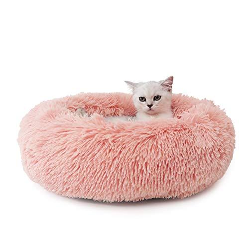 Legendog Cat Bed, Pink Pet Bed/Cat Calming Bed/Warm Soft Plush Round Pet...
