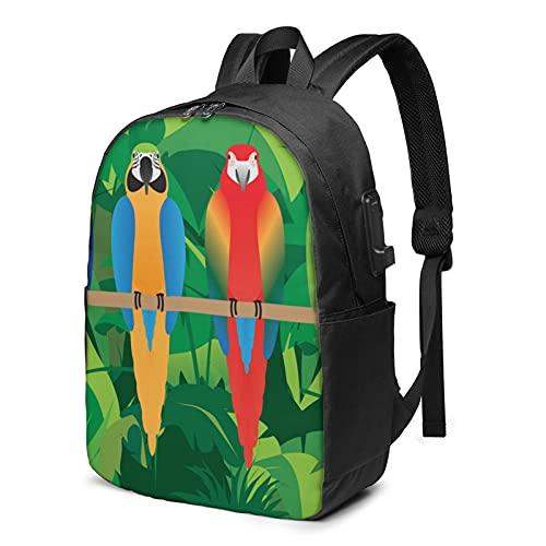 Macaws, zaino da viaggio per laptop con porta di ricarica USB, per uomini e donne da 17', Come mostrato, Taglia unica,