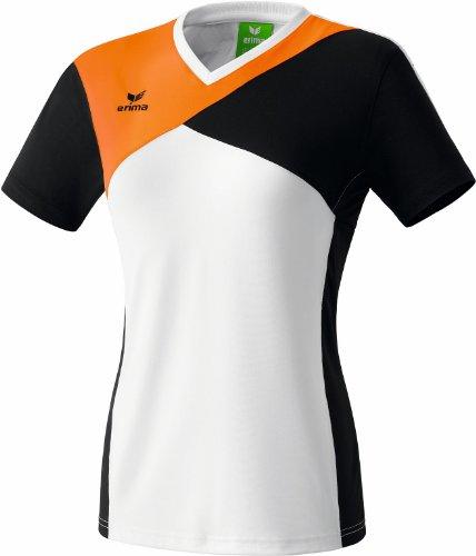 erima Damen Premium One T-Shirt T-shirts & Polos, Weiß/Schwarz/Neon Orange, 48