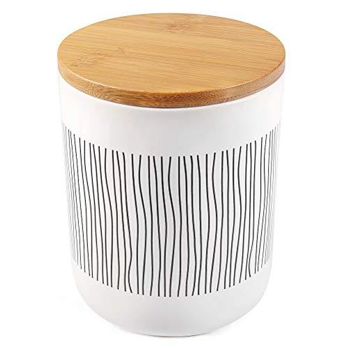 77L Vorratsdose, 1010 ML (34.12 FL OZ), Keramik Vorratsdose mit Luftdichtem Verschluss Bambusdeckel Modernes Design Weißer Vorratsbehälter aus Keramik zum Servieren von Tee, Kaffee, Gewürz und mehr
