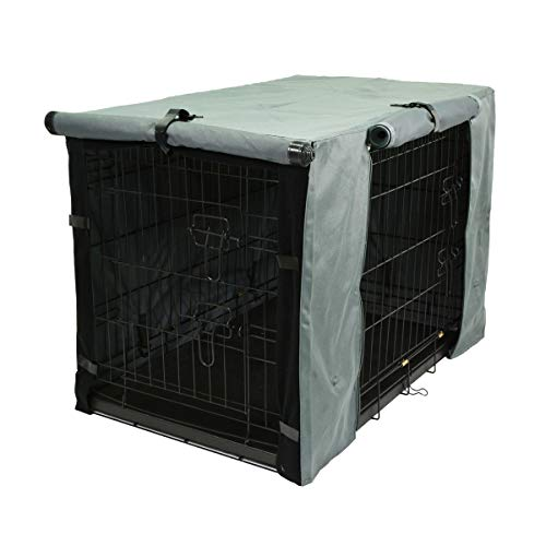 TOPEIUS Dog Crate Cover Cage Cover for 36 Inches Double Door Wire Crate, Durable Waterproof Pet Kennel Covers with Mesh Window