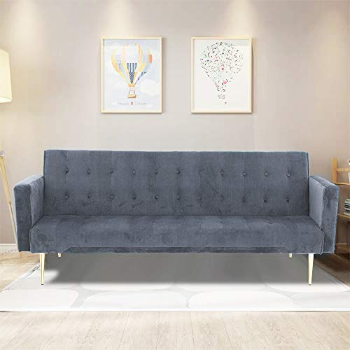 TrintionSofa Bed 3 Seater Click Clack SofabedVelvet Folding Sofas Couch Recliner Setteefor Living Room, Guest Room, Bedroom Classic Grey