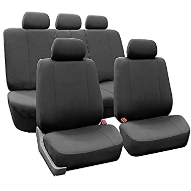 FH GROUP FH-FB052115 Full Set Multifunctional Flat Cloth Car Seat Covers, Airbag Ready and Split, Charcoal Color - Fit Most Car, Truck, Suv, or Van