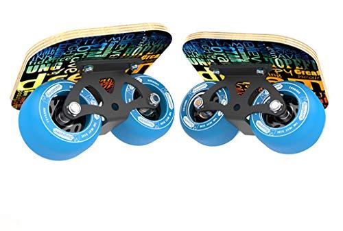 YQ&TL Drift Skates Freeline Tragbarer Erwachsener Pinsel Straße Anfänger Split Skateboard Travel Drift Straße Maple Allrad Fashing Butterfly Spirit Board, gebogenes Rad blau