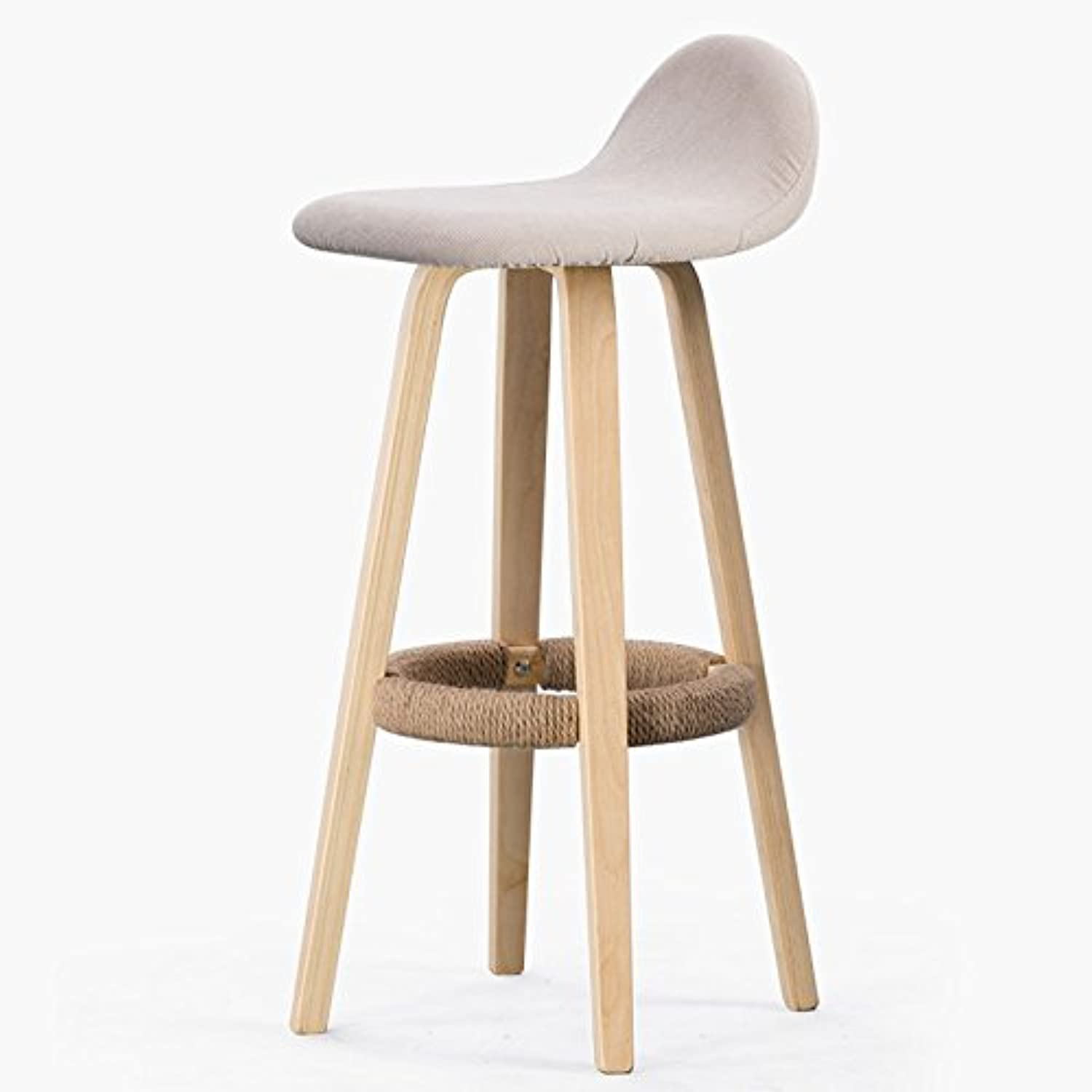 Solid Wood Bar High Chair, Family Bar Stool ( color   Beige )