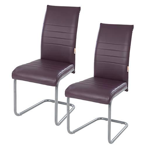 IHD Freischwinger mit dick gepolsterter Sitzfläche, hoher Rückenlehne und Kunstlederbezug mit Ziernähten im 2er Set Lila