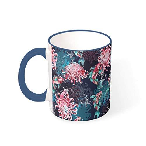 Lind88 11 Ounces Asia Koi Chrysanthemum Water Cocoa Cup met handvat Porselein Novelty Mokken - Heren, Pak voor Dorm gebruik