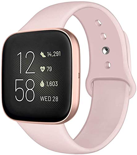 Kmasic Sport Band Compatible with Fitbit Versa/Fitbit Versa 2/Fitbit Versa Lite Edition, Soft Silicone Strap Replacement Wristband Versa Smart Fitness Watch, Small