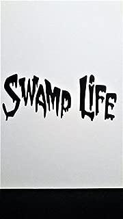Swamp Life Alligator Hunter Louisiana Everglades Vinyl Decal Sticker BLACK Cars Trucks Vans SUV Laptops Wall Art 7.5