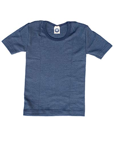 Cosilana, Kinder Unterhemd/T-Shirt, 70% Wolle und 30% Seide (92, Marine)