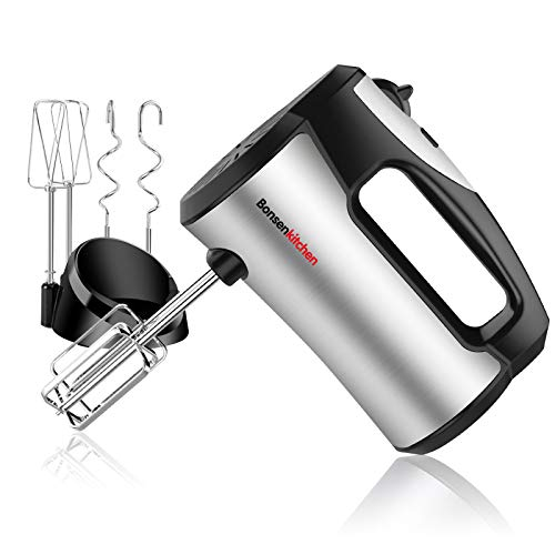 Hand Mixer Electric,300W Power Kitchen Handheld Mixer with 5-Speed, Storage Base & 4 Stainless Steel Accessories for Whipping,Baking Cake,Egg Cream,Food Beater