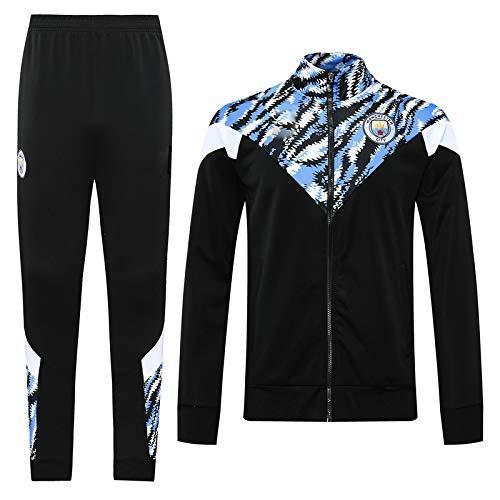 LZMX Fußballverein 2-teiliges offizielles Fußball-Geschenk Erwachsene langärmlige Jacke + Hosen Sportswear Anzug Manchester City Track und Feldjacke-Jacke-Trainingsanzug (Color : E, Size : S)