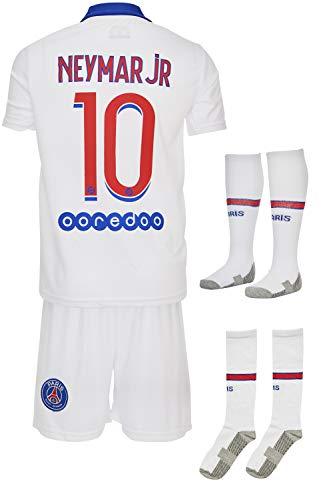 Paris #7 Mbappe-Neymar 2019-2020 Auswärts Kinder Fußball Trikot Hose und Socken Kindergrößen (152-9/10 Jahre, Neymar)