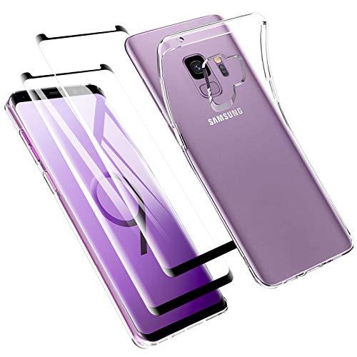 Zsmzzd Funda para Samsung Galaxy S9, 2 Pcs Protector de Pantalla Cristal Templado, Antigolpes Transparente Silicona TPU Suave Carcasa + Vidrio Templado Screen Protector Samsung Galaxy S9