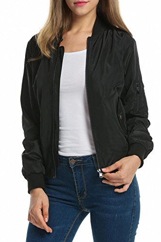 Zeagoo Women's Bomber Jackets Long Sleeve Zip Up Lightweight Coat(Black, S)