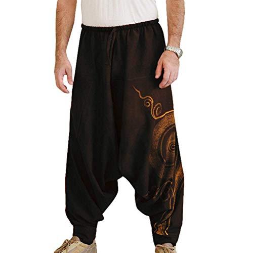 Taigood Hombre Pantalones Harem Cómoda Cintura Elástica Pantalones Moda Color Sólido Casuales Yoga Hippies Pantalones Negro Tamaño L