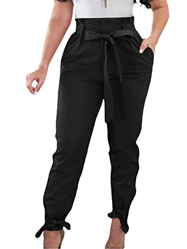 GOBLES Women Solid Casual Work Trousers High Waist Ruffle Bow Tie Pants Black
