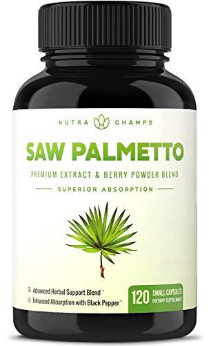 Saw Palmetto Suplemento para la salud de la próstata [fuerza adicional] 600 mg complejo con extracto, polvo de bayas y hierbas – Apoya la frecuencia de micción saludable, bloqueador de DHT y prevención de pérdida de cabello – 120 cápsulas