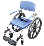 Ezee Life Attendant Shower Wheelchair Bath Toilet Rehab Commode Aluminum Adjustable 18 in. seat Wide with 24' Wheels 180-24