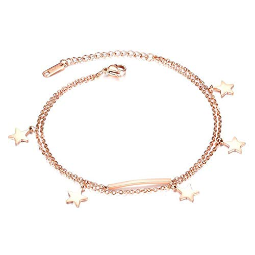 Vioness - Pulsera de tobillo con colgante de 5 estrellas, circonio doble fila chapada en oro rosa y acero