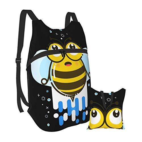 Mochila portátil plegable, mochila de computadora para adultos, diseño de abejas de dibujos animados sorprendidas anti robo, delgada y duradera para portátiles