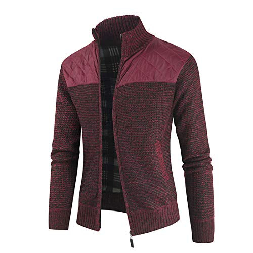 XLDD Men's Cardigan Jacket Stand Up Collar Classic Long Sleeve Zipper Sweater Jacket Autumn Winter Warm Knitted Sporty Jacket Comfortable Warm Elegant Coat L