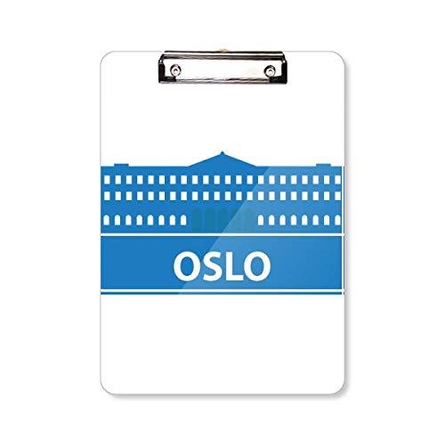 Oslo Noorwegen Blauw Landmark Patroon Klembord Map Schrijven Pad Achterplaat A4