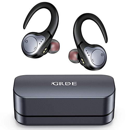 Cuffie Bluetooth Sport, Auricolari Bluetooth Senza Fili Impermeabili IPX7 con Hi-Fi Stereo CVC8.0 Microfono Integrato 48 Ore di Riproduzione per Correre, Andare in Bicicletta (Nero)