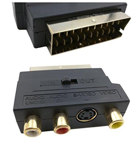 QiCheng & LYS Scart to av, Adattatore scart rca, Adattatore scart rgb Scart 20 Pin Maschio a 3 RCA AV femmina + S adattatore video convertitore (nero)