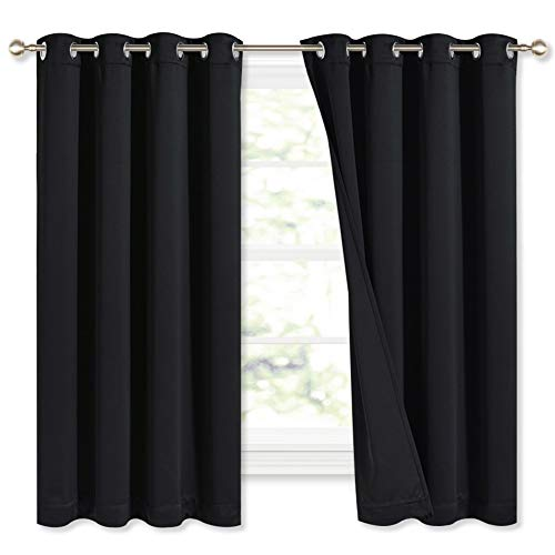 NICETOWN Complete 100% Blackout Curtains, Thermal Insulated & Energy Efficiency Window Draperies with Black Liner, Noise Reducing Short Curtains for Kids Room (Black, 52-inch W by 63-inch L, 2 Panels)