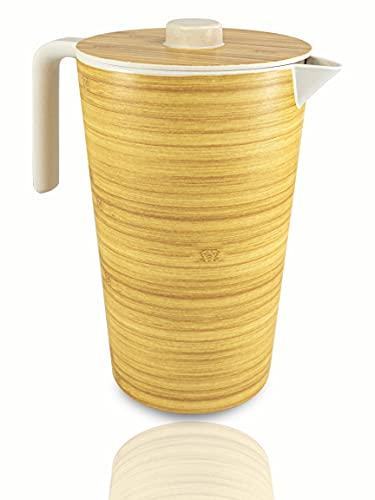Jarra de bambú Natural XXL, Jarra de Agua 1,5 Litros de Capacidad, Vajilla de Bambú, Jarra medidora, Hecha de Bambú Natural