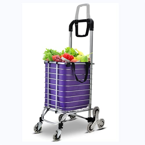 DONGSHUAI Lightweight Shopping Trolley on Wheels, Foldable Stair-Climbing Grocery Cart with Larger Storage, Stainless Steel Frame,Purple