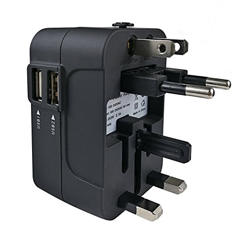 Travel Adapter, Worldwide All in One Universal Travel Adapter Wall Charger AC Power Plug Adapter with Dual USB Charging Ports for USA EU UK AUS, Cell Phone Laptop, Black