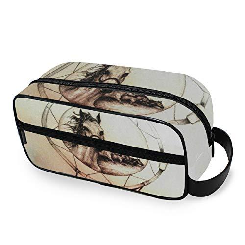 Trousse de toilette Portable Storage Dream Catcher Horse Purse Travel Makeup Bag Tools Cosmetic Train Case